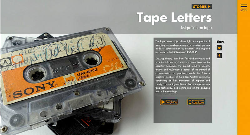 Screenshot of the Tapeletters website