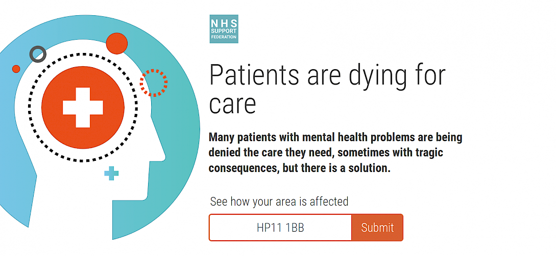 Screenshot showing the mental health campaign site.